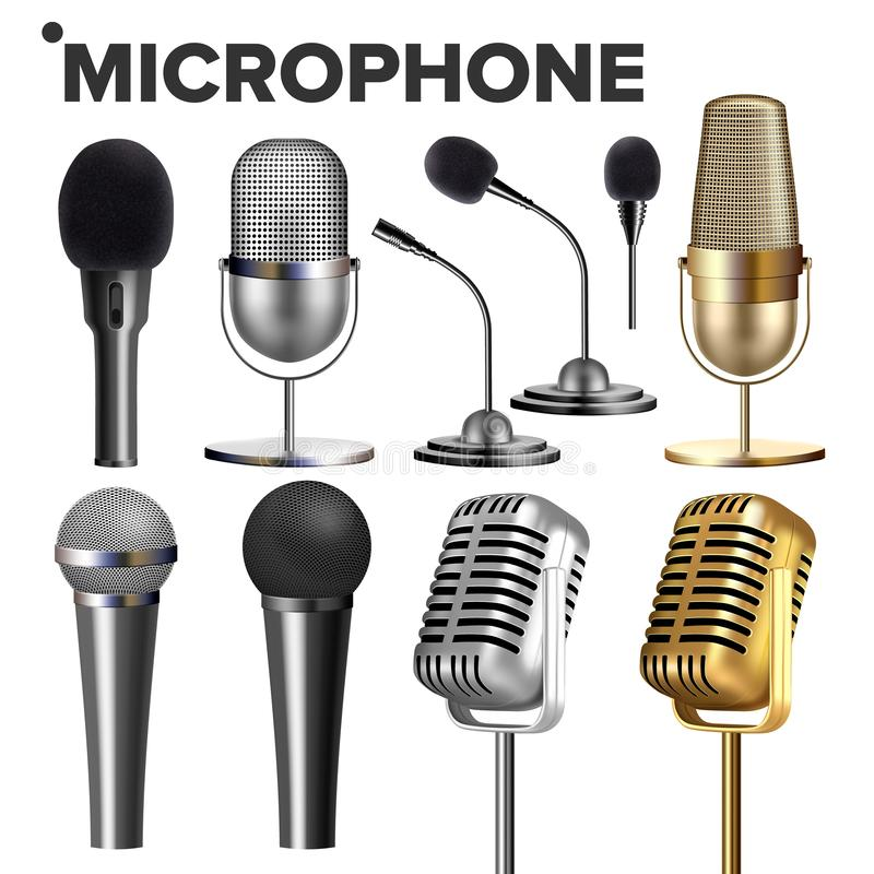 Vetor do grupo do microfone Equipamento audio Ícone da música Concerto do vintage Moderno e retro Símbolo musical de uma comunica ilustração royalty free