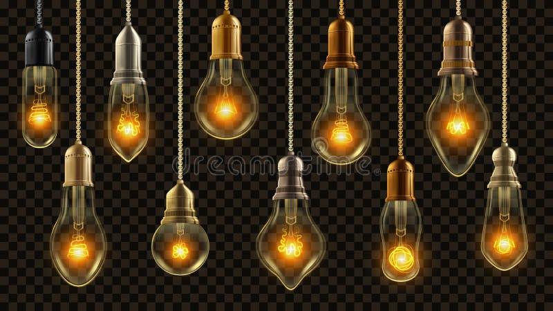 Vetor do grupo do vintage da ampola Lâmpada de incandescência do brilho Sótão 3D retro elétrico realístico transparente ou estilo ilustração stock