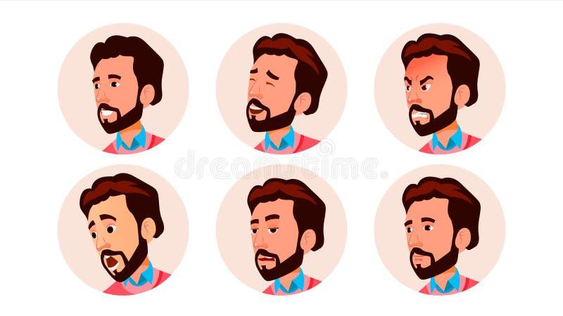 Vetor do homem do ícone do Avatar Arte cômica da cara Trabalhador alegre Ilustração do personagem de banda desenhada ilustração do vetor