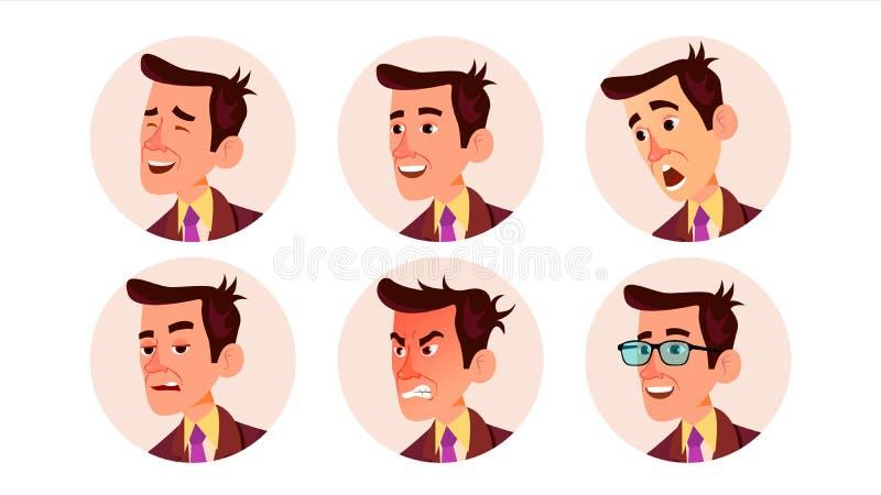 Vetor do homem do Avatar Homem bonito Empregador moderno Ilustração isolada do personagem de banda desenhada ilustração stock