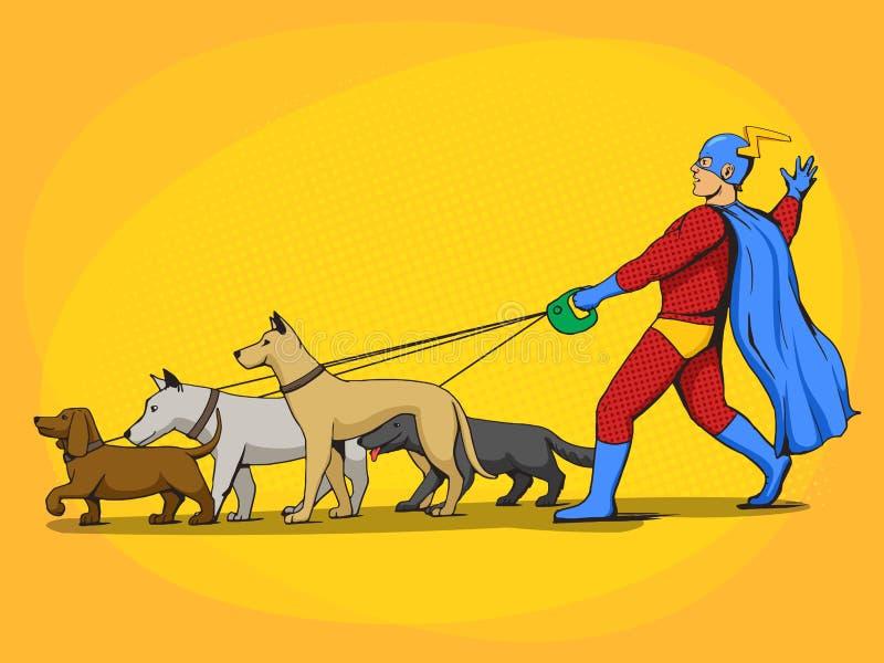 Vetor do homem do super-herói e da banda desenhada dos cães ilustração do vetor