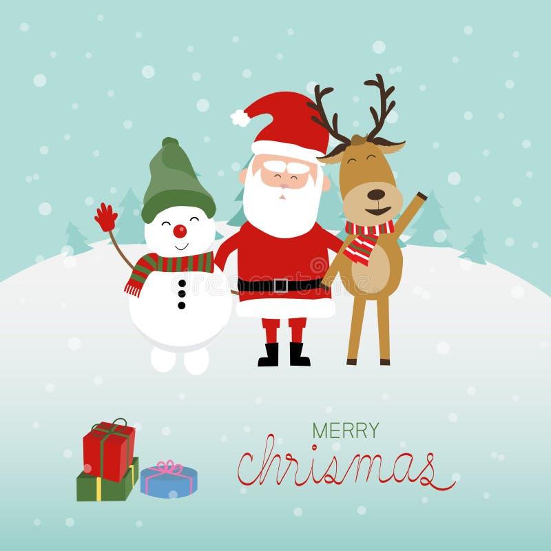 Vetor do homem e da rena da neve de Papai Noel do Feliz Natal Illust ilustração stock
