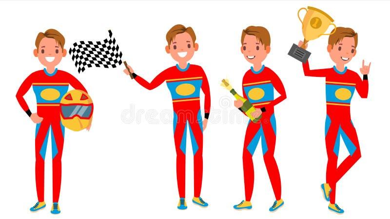Vetor do homem novo do piloto do carro desportivo Campeonato de competência Uniforme vermelho Reunião do turbocompressor Homem Mo ilustração royalty free