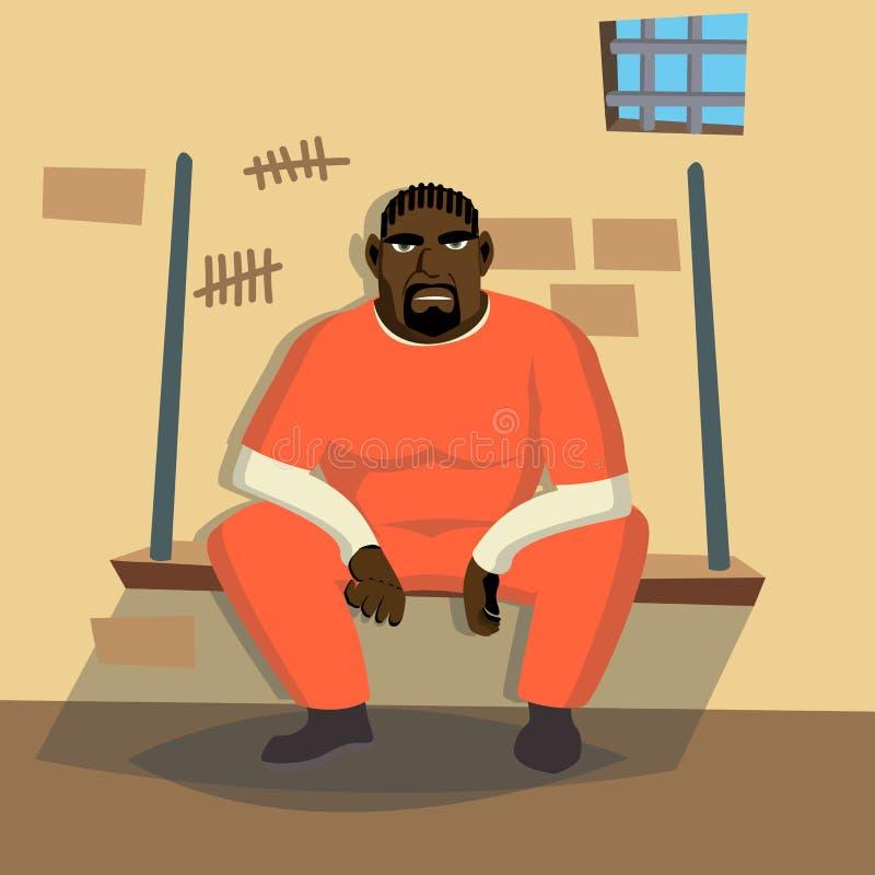 Vetor do homem do prisioneiro Homem criminoso prendido e fechado Ilustração lisa do personagem de banda desenhada ilustração royalty free