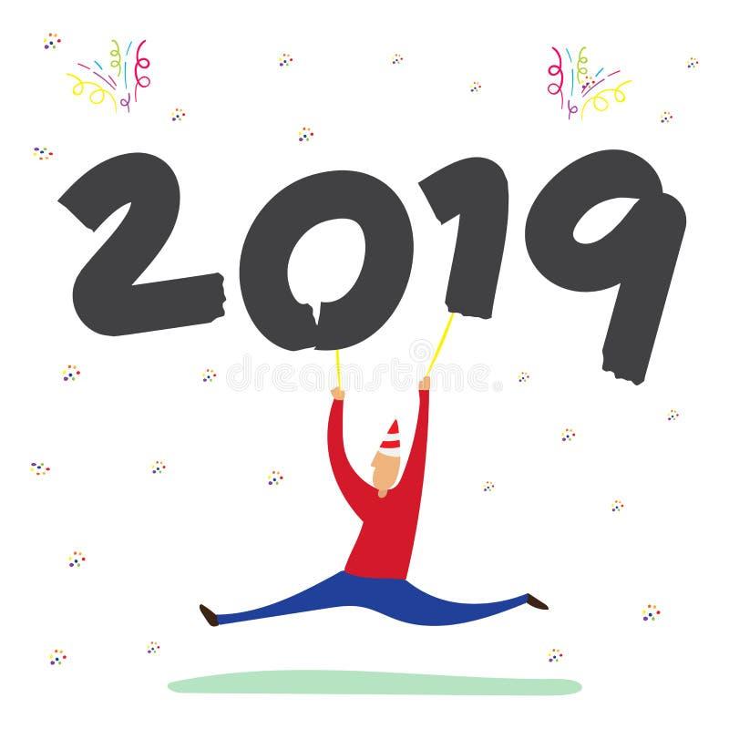 Vetor do homem que dança e que guarda 2019 wi do balão do ano novo feliz ilustração stock
