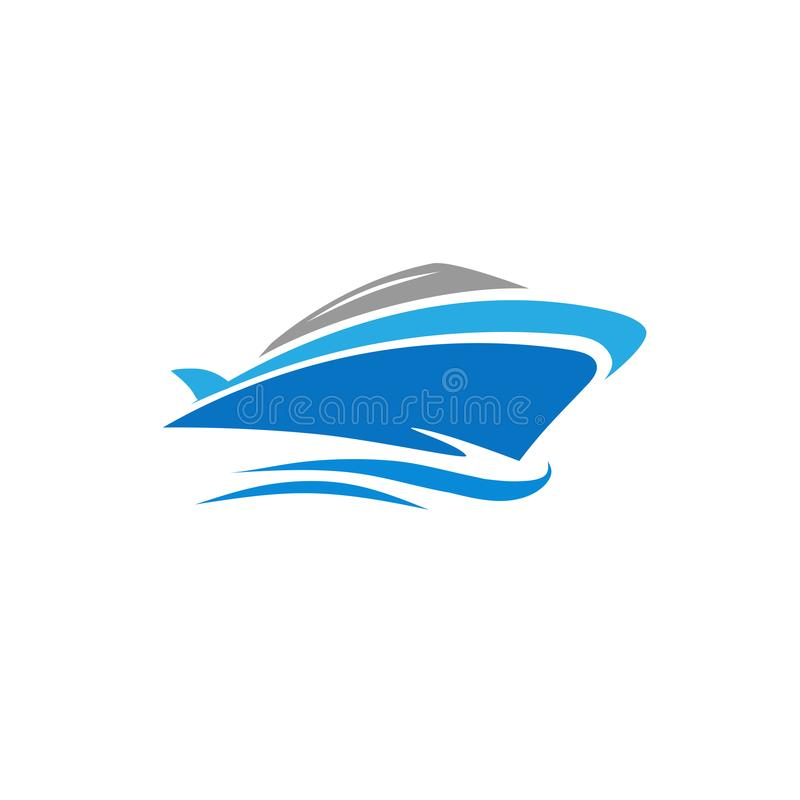 Vetor do iate, conceito do logotipo do barco da velocidade ilustração stock