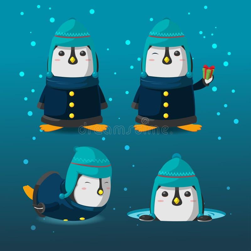 Vetor do jogo de caracteres dos desenhos animados do Natal do pinguim ilustração stock