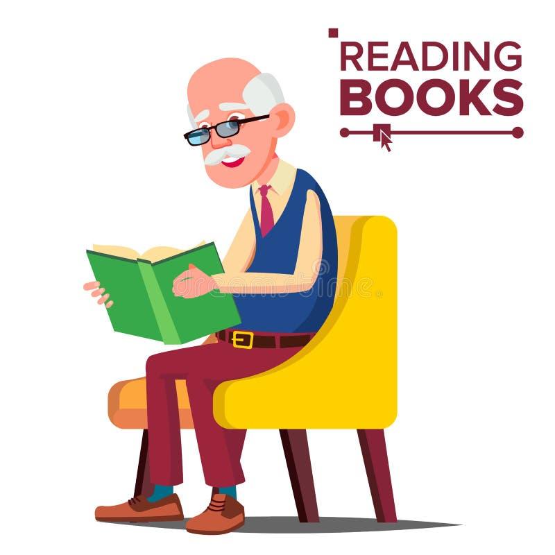 Vetor do livro de leitura do ancião livro de papel Assento em uma cadeira Ilustração lisa isolada dos desenhos animados ilustração do vetor