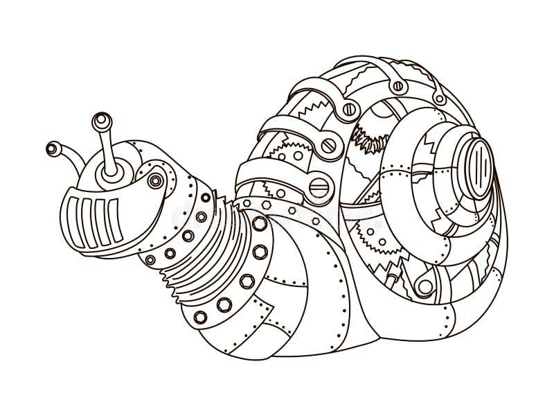 Vetor do livro para colorir do caracol do estilo de Steampunk ilustração do vetor
