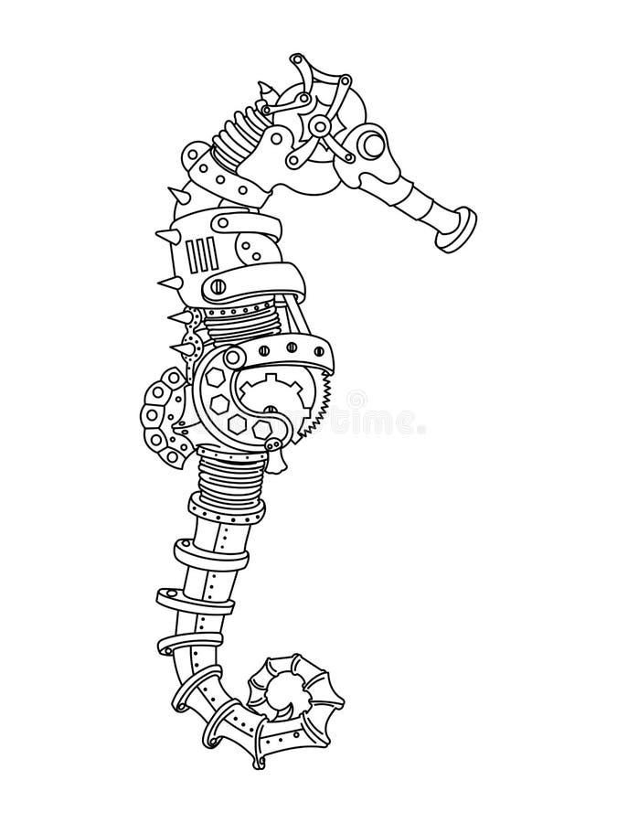 Vetor do livro para colorir do cavalo de mar do estilo de Steampunk ilustração do vetor