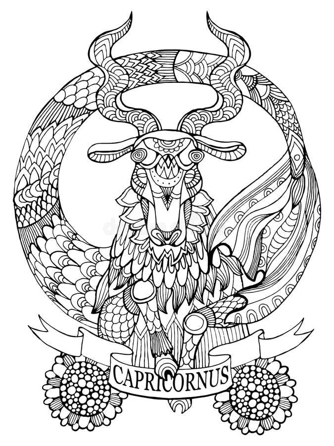 Vetor do livro para colorir do sinal do zodíaco do Capricórnio ilustração royalty free