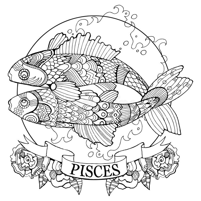 Vetor do livro para colorir do sinal do zodíaco dos Peixes ilustração royalty free