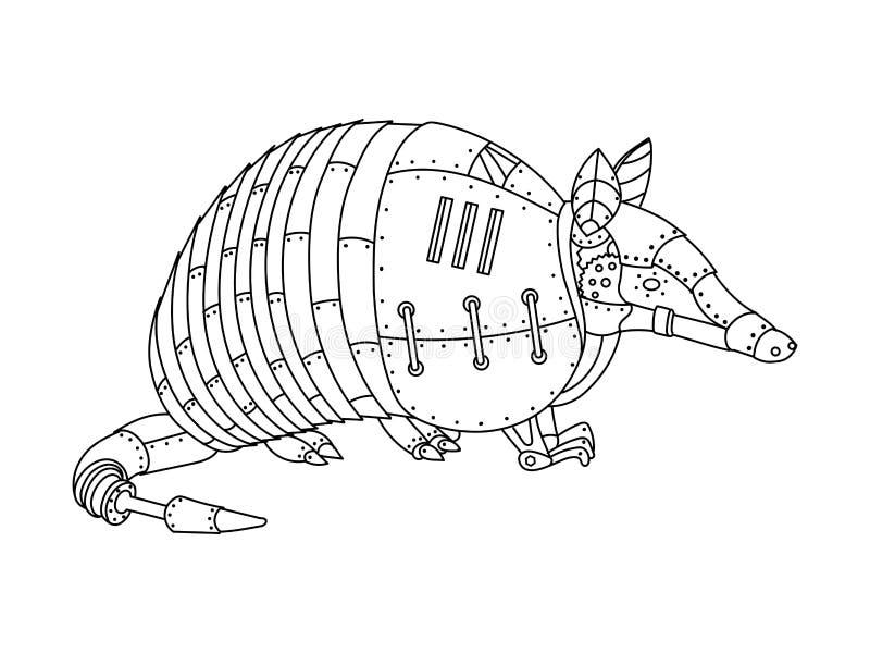 Vetor do livro para colorir do tatu do estilo de Steampunk ilustração stock