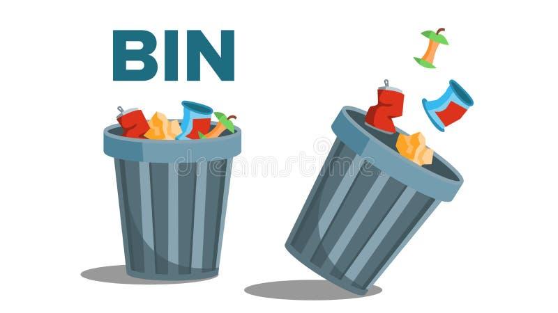 Vetor do lixo do escaninho Completamente do lixo invertido Ilustração lisa isolada ilustração stock