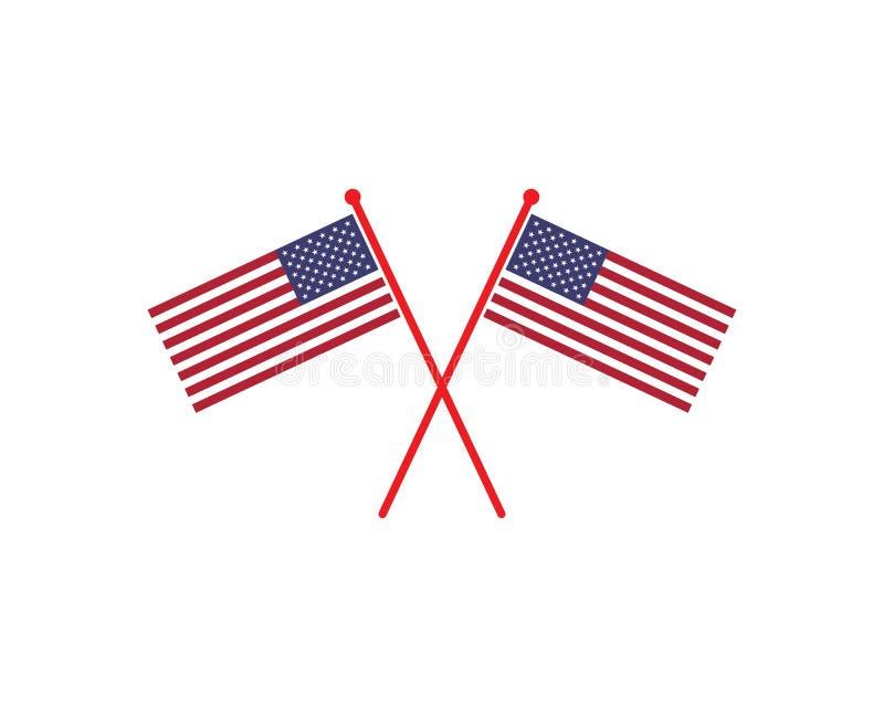vetor do logotipo do ícone da bandeira dos EUA ilustração do vetor