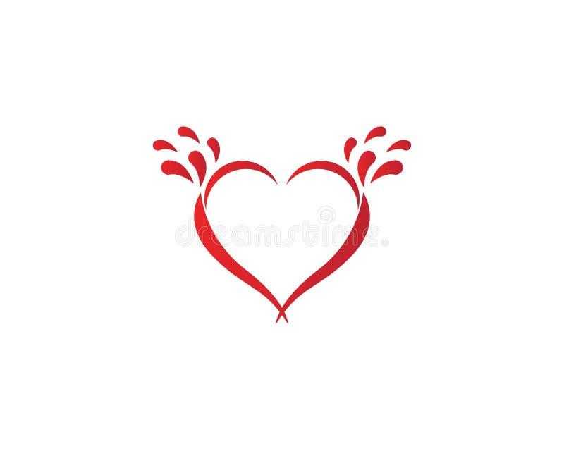 Vetor do logotipo do ícone do respingo do coração do amor ilustração stock