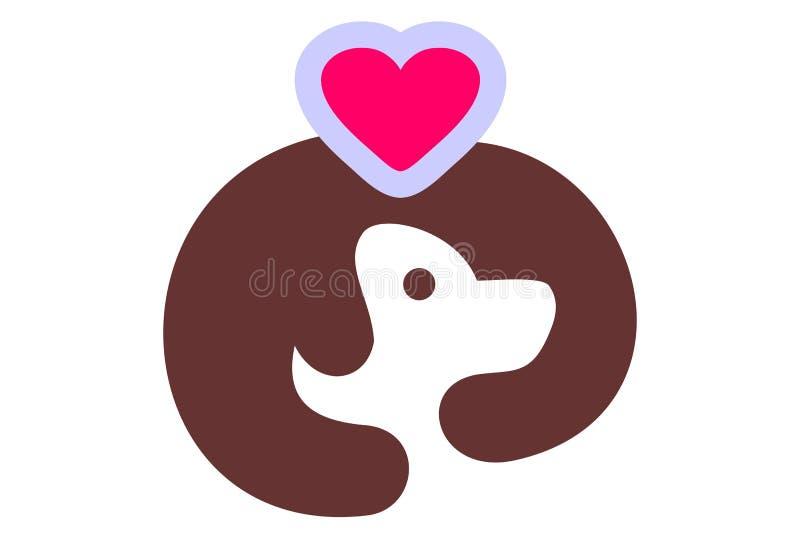 Vetor do logotipo do cão do amor do abraço ilustração stock