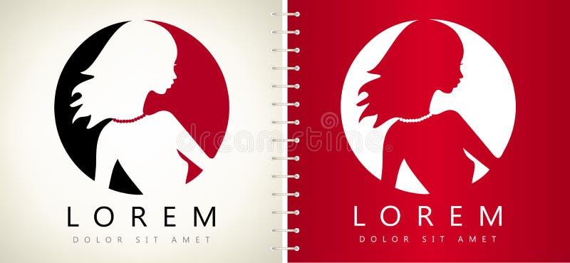 Vetor do logotipo da cara e do cabelo da mulher ilustração stock