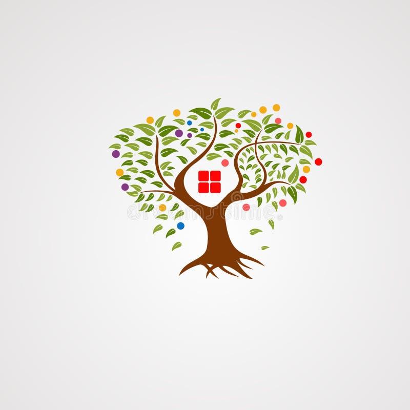 Vetor do logotipo da casa na árvore com vetor, ícone, elemento, e molde modernos do logotipo das folhas para o negócio ilustração do vetor