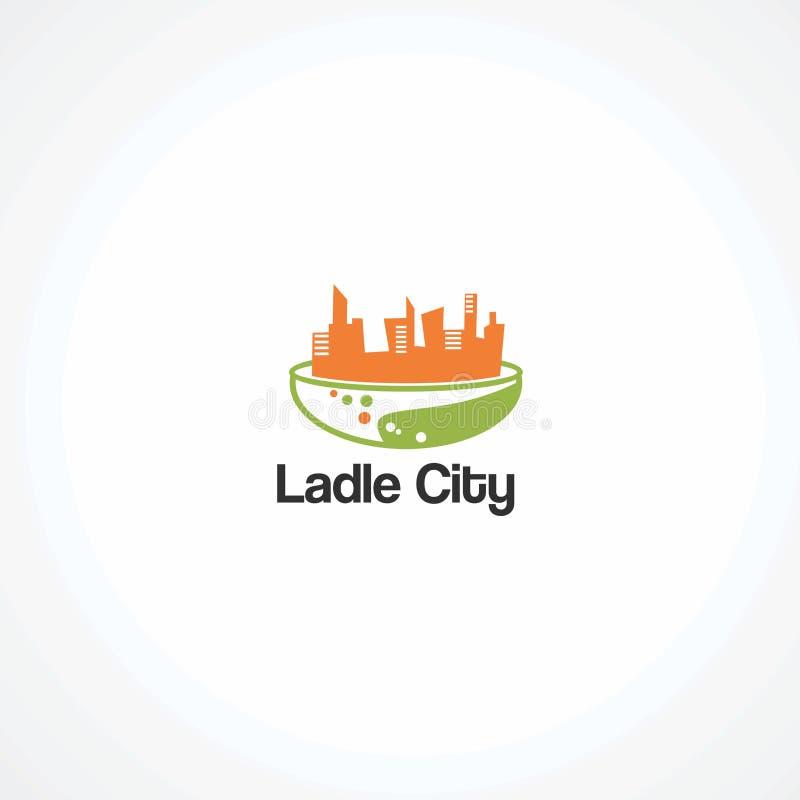 Vetor do logotipo da cidade da concha com água da gota na cor verde, no elemento, e no ícone para a empresa ilustração stock