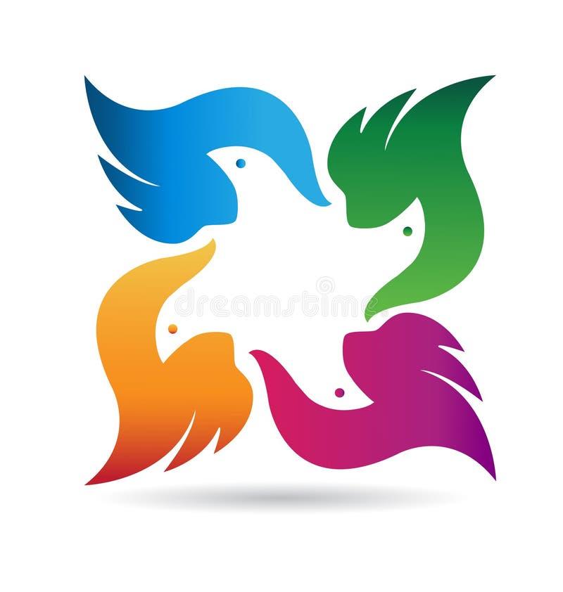 Vetor do logotipo da equipe dos pássaros ilustração royalty free