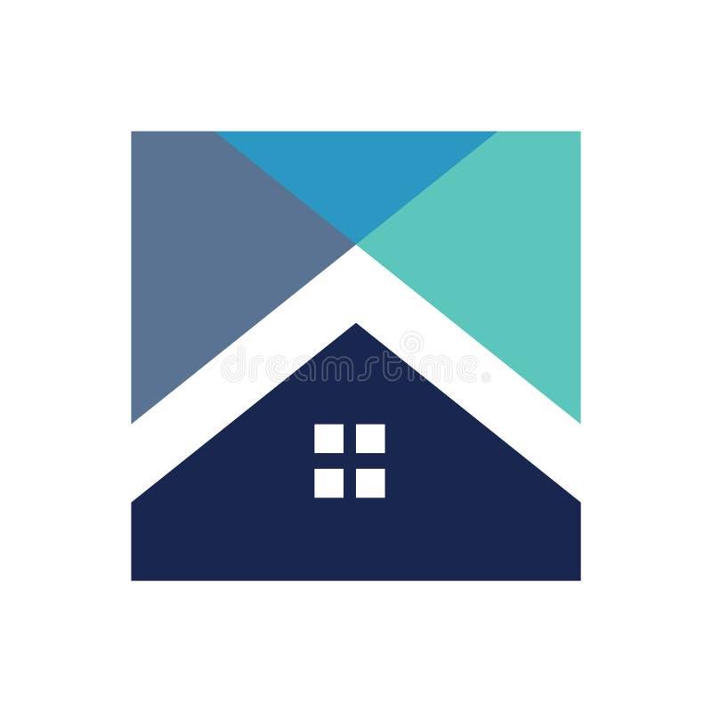 Vetor do logotipo da forma da casa da caixa ilustração royalty free