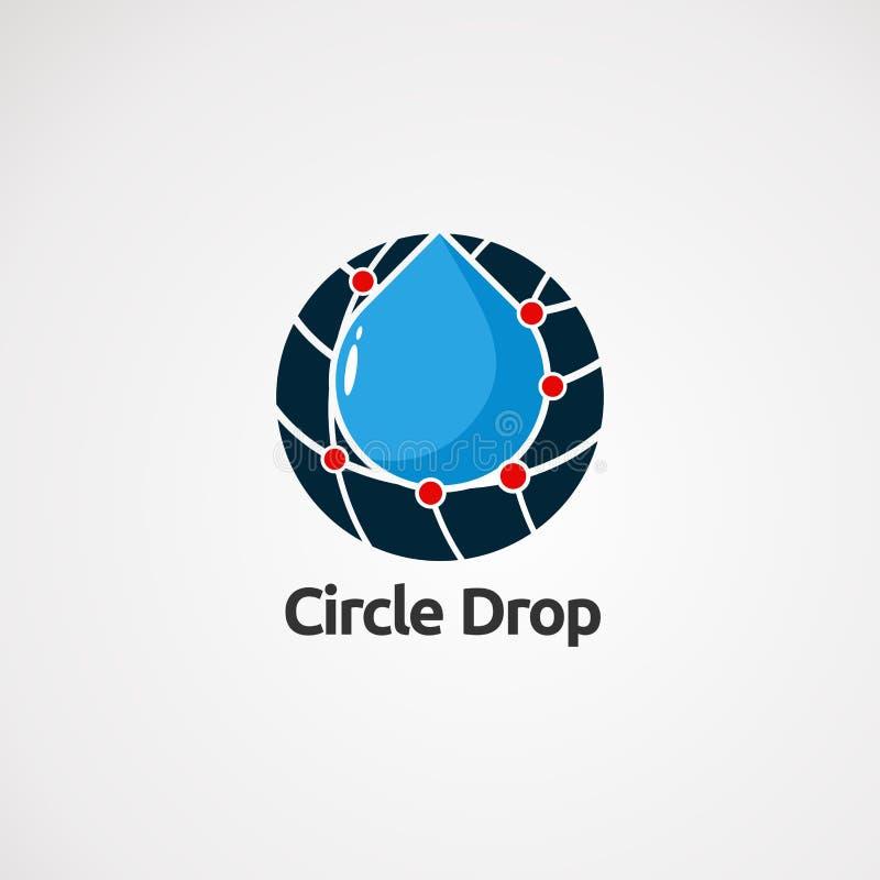 Vetor do logotipo da gota do círculo com conceito, ícone, elemento, e molde vermelhos do techno do ponto para a empresa ilustração do vetor