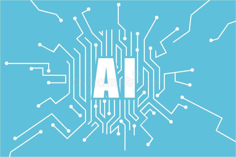 Vetor do logotipo da inteligência artificial Conceito da aprendizagem de máquina ilustração royalty free