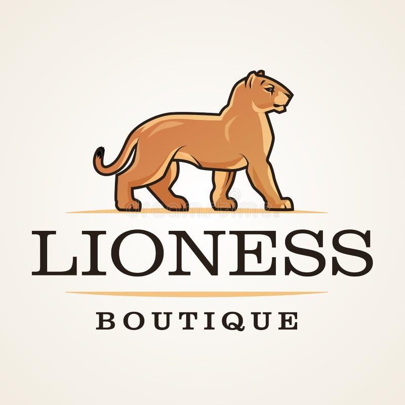 Vetor do logotipo da leoa Molde do projeto do leão Ilustração da loja ou do boutique Insígnias do gato grande, logotype do puma n ilustração stock