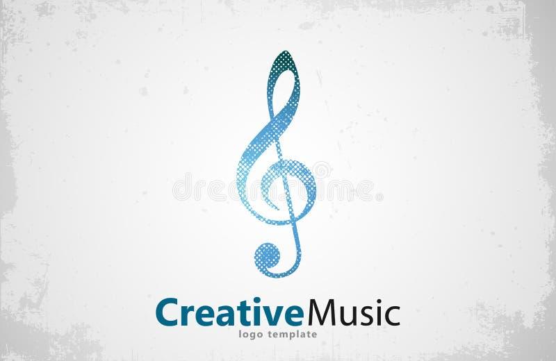 Vetor do logotipo da música Molde musical da nota chave creativo ilustração stock