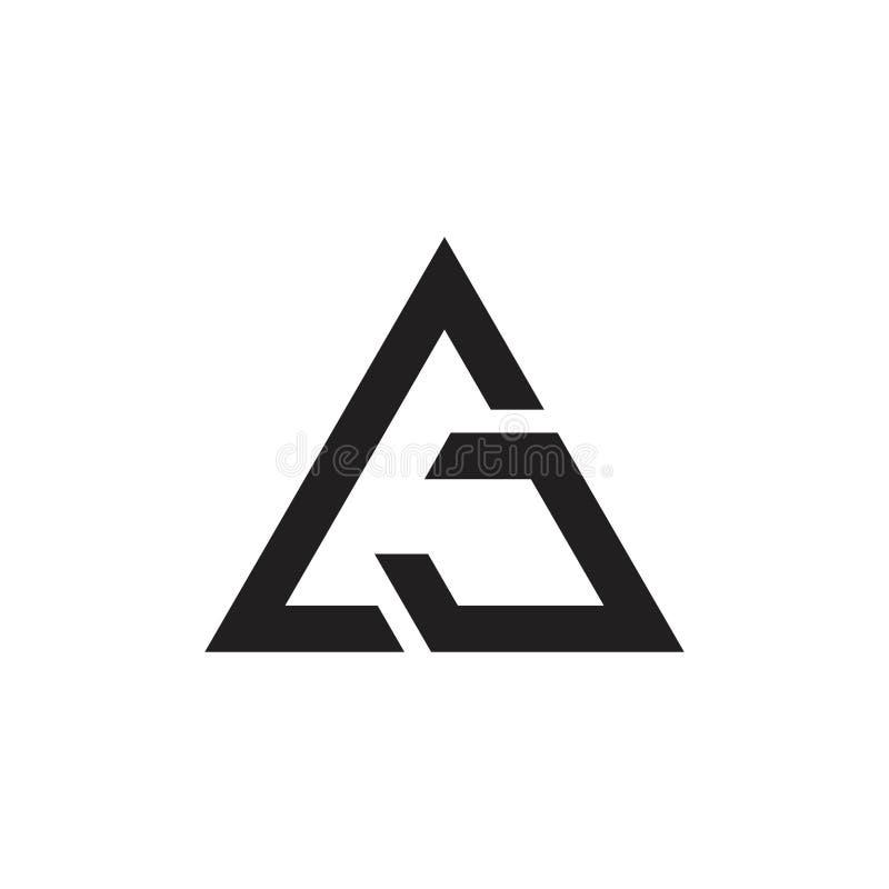 Vetor do logotipo das setas do triângulo do gj das letras ilustração royalty free