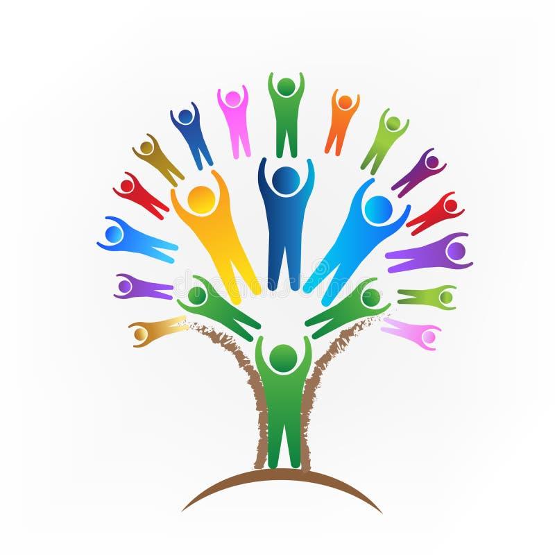 Vetor do logotipo dos povos dos trabalhos de equipa da árvore ilustração do vetor