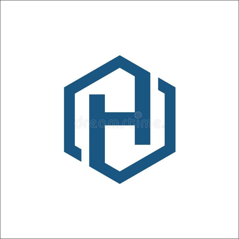 VETOR do LOGOTIPO do HEXÁGONO das iniciais H ilustração stock