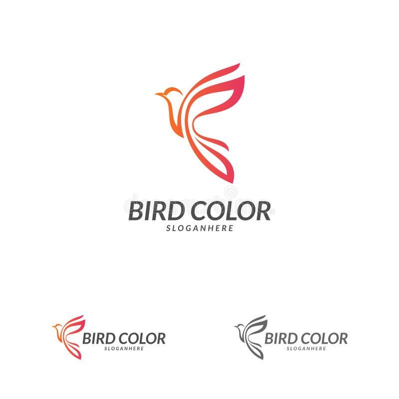 Vetor do logotipo do pássaro Molde do vetor do projeto do logotipo do pássaro de voo Ícone do conceito do Logotype do pombo da po ilustração royalty free