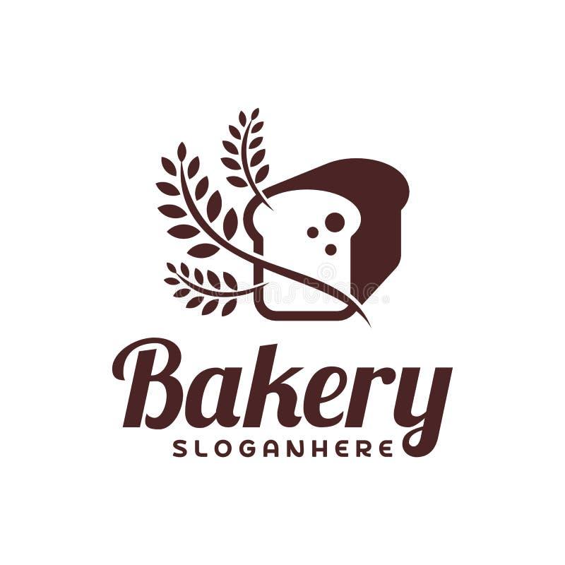 Vetor do logotipo do pão do alimento Projeto do emblema da padaria Molde do vetor do logotipo do alimento ilustração royalty free