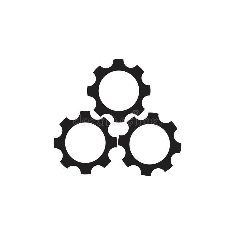 Vetor do logotipo do símbolo da máquina de três rodas denteadas ilustração do vetor