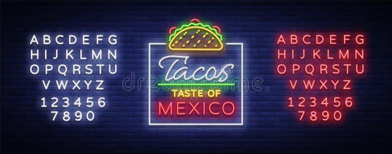 Vetor do logotipo do taco Sinal de néon no alimento mexicano, tacos, alimento da rua, fast food, petisco Quadros de avisos de néo ilustração stock