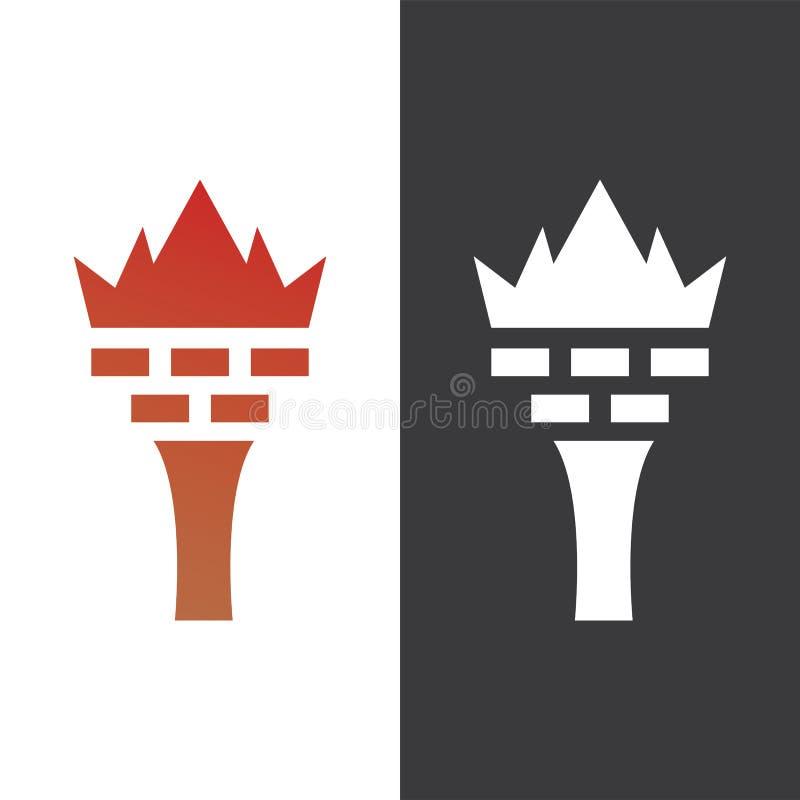 Vetor do logotipo do tijolo da coluna da coroa ilustração do vetor