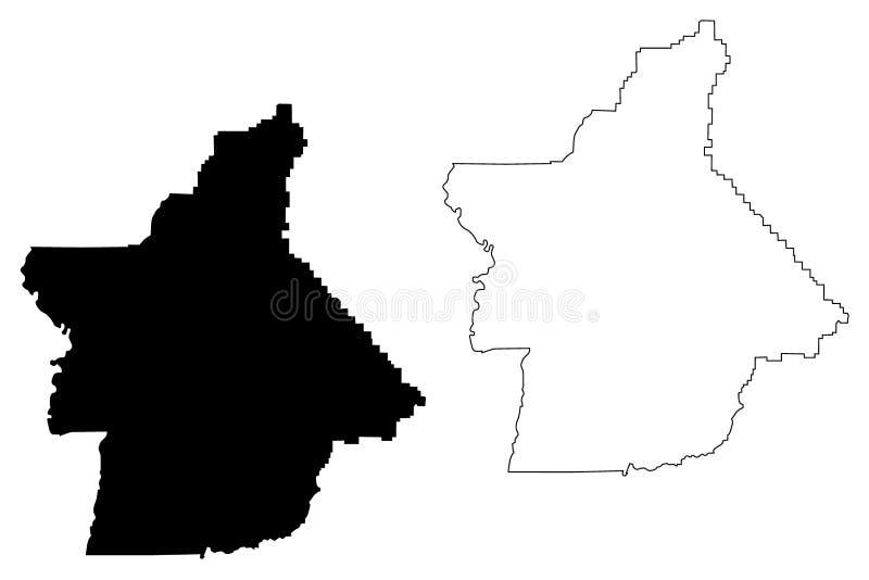 Vetor do mapa do Condado de Butte, Califórnia ilustração stock
