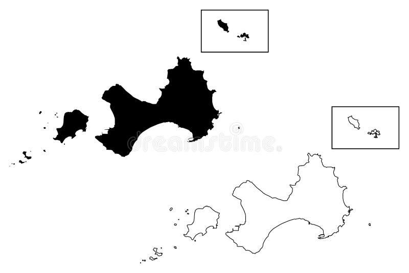 Vetor do mapa do condado de Kinmen ilustração do vetor