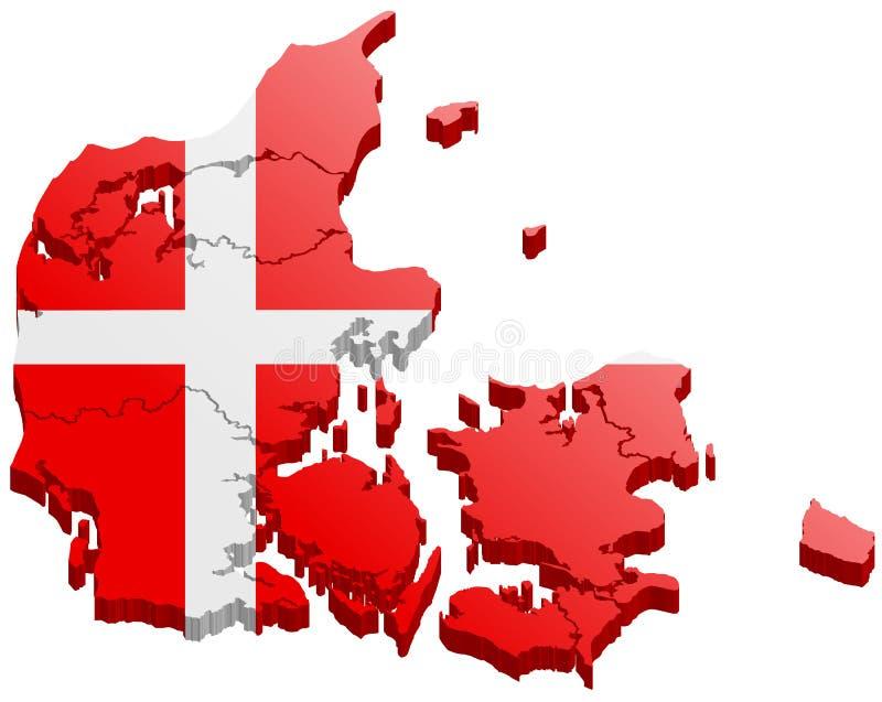 Vetor do mapa 3d de Dinamarca ilustração royalty free
