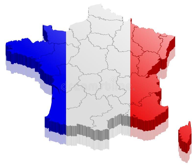 Vetor do mapa 3d de França ilustração royalty free