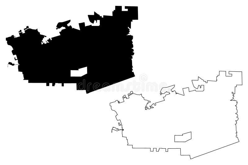 Vetor do mapa da cidade de Chula Vista ilustração royalty free