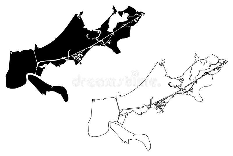 Vetor do mapa da cidade de Nova Orleães ilustração do vetor