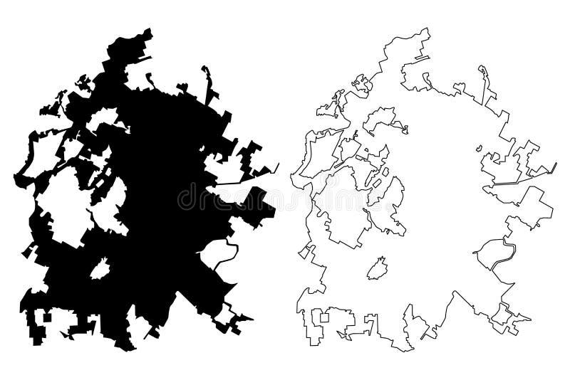 Vetor do mapa de Austin City ilustração do vetor