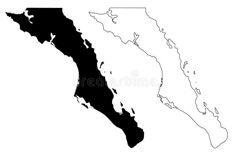 Vetor do mapa de Baja California Sur ilustração royalty free