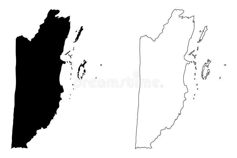Vetor do mapa de Belize ilustração do vetor