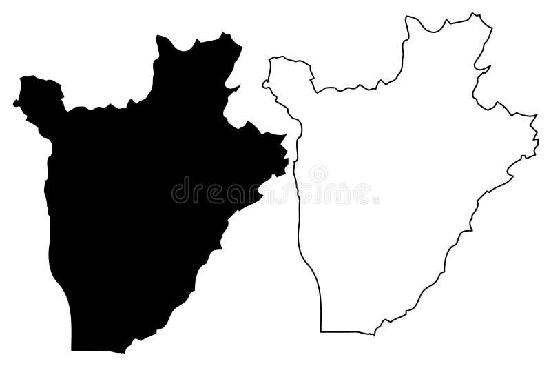 Vetor do mapa de Burundi ilustração royalty free