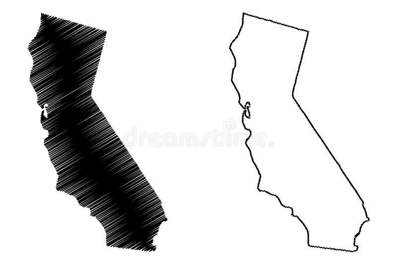 Vetor do mapa de Califórnia ilustração royalty free