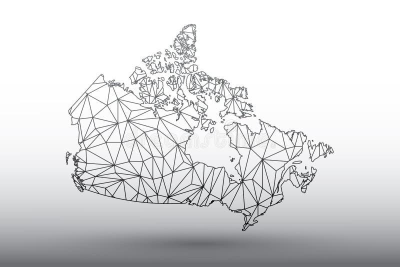 Vetor do mapa de Canadá das linhas conectadas geométricas triângulos da cor preta da utilização na ilustração clara do fundo que  ilustração stock
